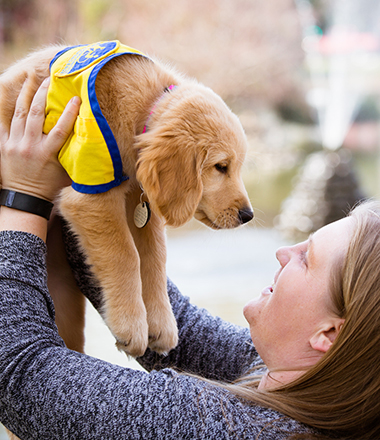 Smiling woman holds golden puppy with cape up in air