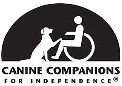 CCI logo in black and white, text reads Canine Companions for Independence