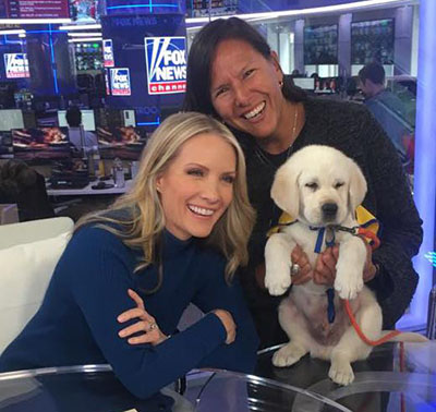 Fox news puppy with two newscasters