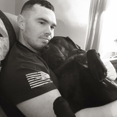 Caleb with Service Dog Velvet - PTSD