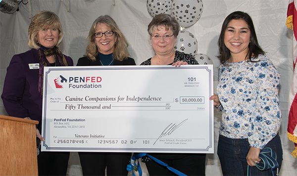 four women holding enlarged check