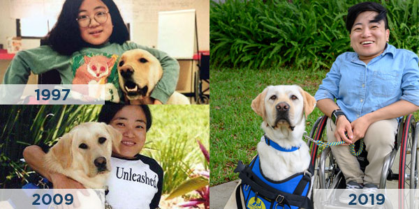 three images in a collage of a person with a Canine Companions assistance dog