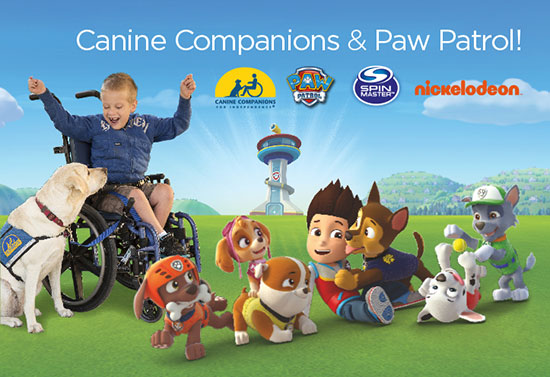 graphic of boy in wheelchair with Canine Companions service dog by his side. Also, PawPatrol characters are on the graphic