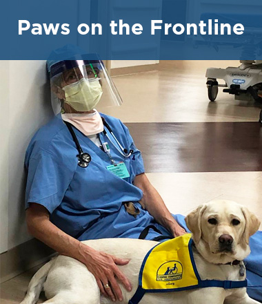 doctor sitting on floor with Canine Companions puppy wearing yellow vest