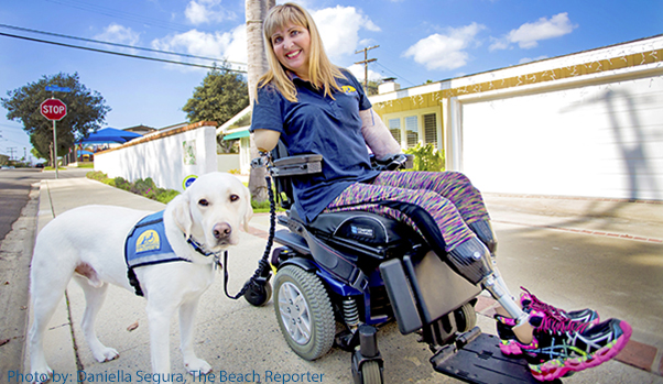 blonde woman in wheelchair with yellow canine companions dog