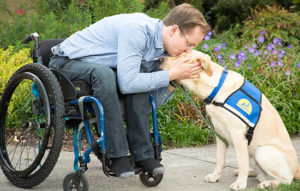 person in wheelchair leaning over to kiss Canine Companions service dogs head