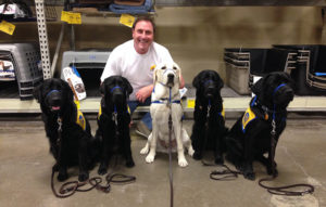 person with five Canine Companions puppies