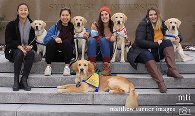 groups of people with Canine Companions puppies