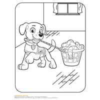 coloring book page with a puppy tugging on a basket