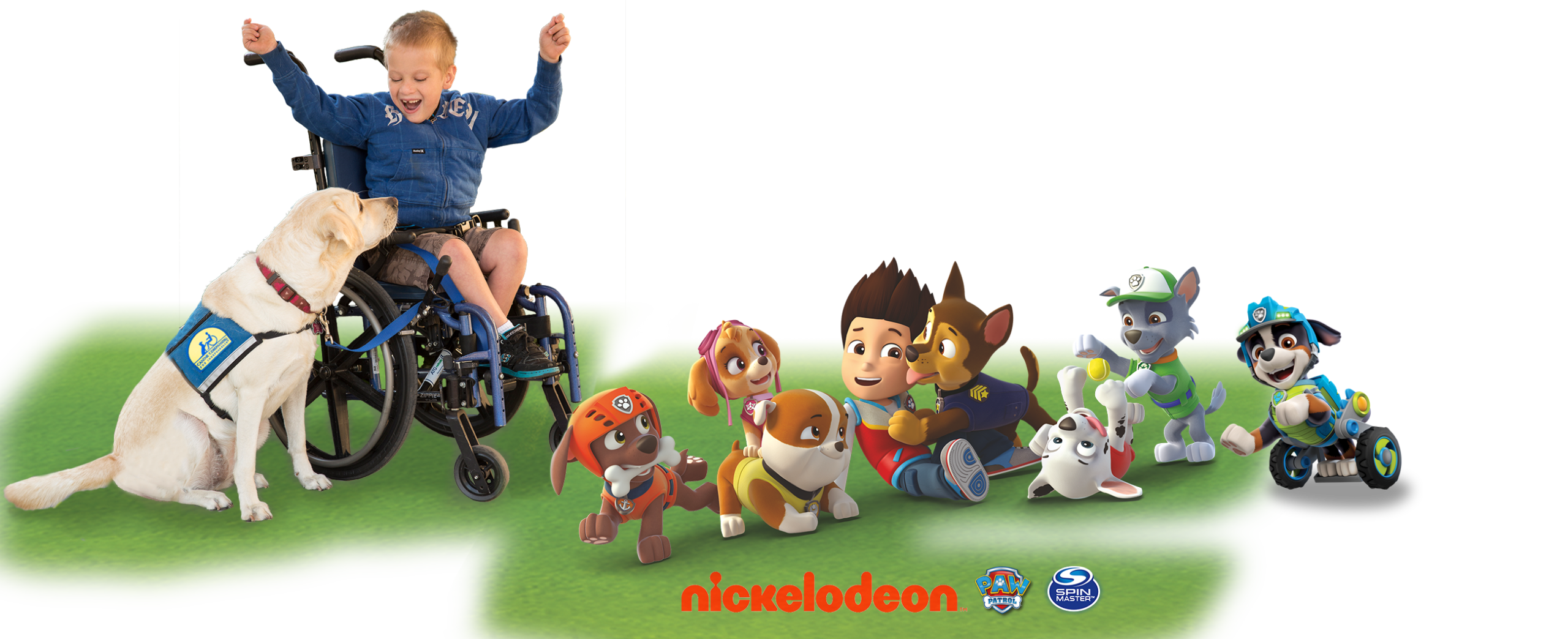 Canine Companions service dog, child and PawPatrol characters