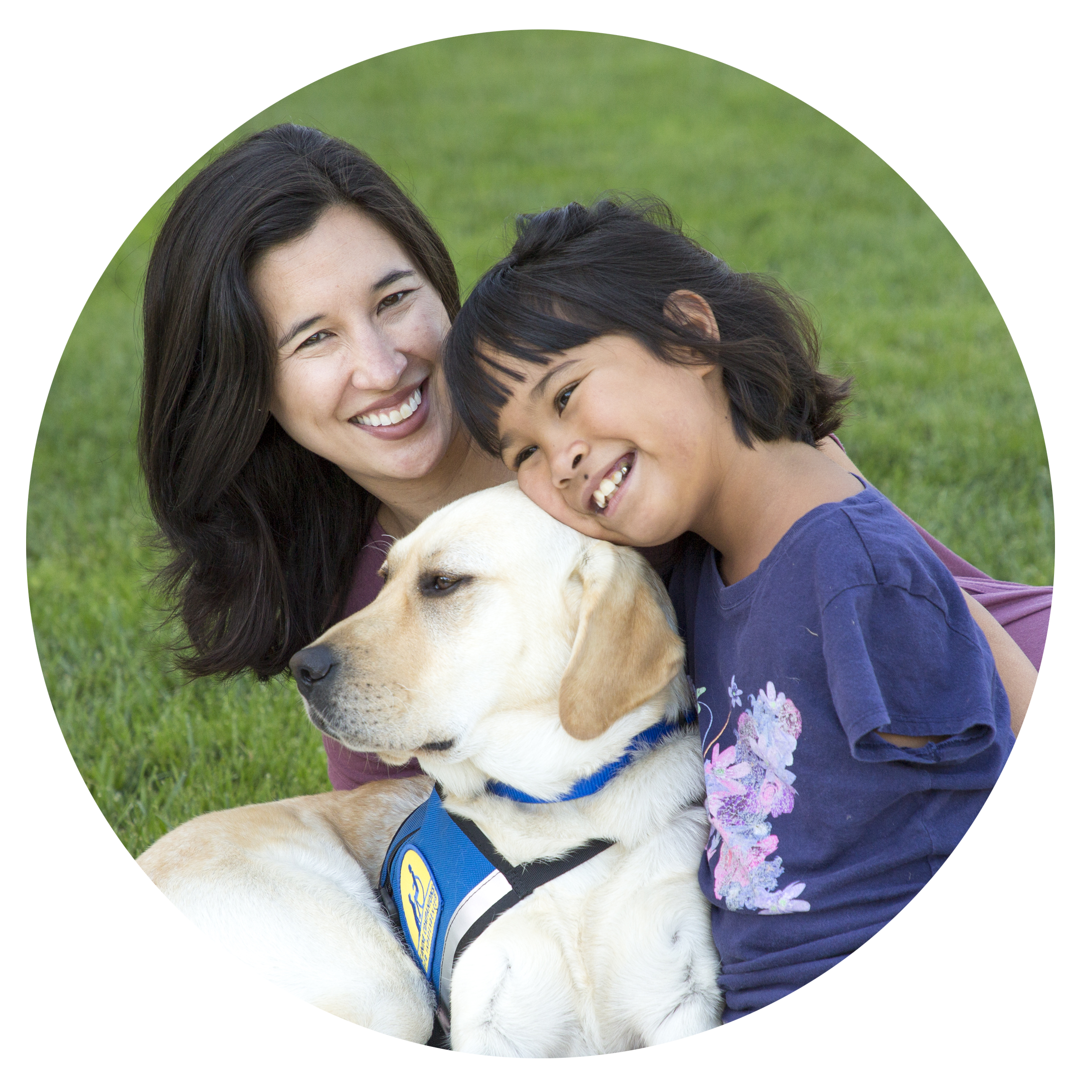 mother and daughter with yellow lab