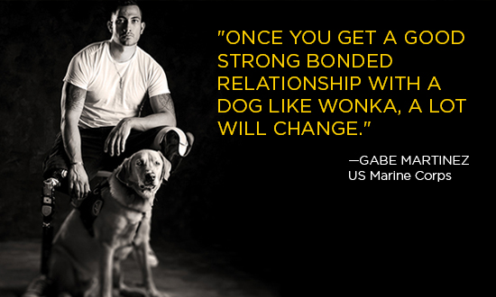 Gabe Martinez with his Canine Companions Service Dog Wonka