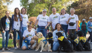 group of volunteers pose for a photo with assistance dogs