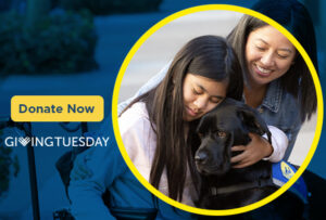 child hugging Canine Companions service dog with an adult next to them. The words, Donate Now and Giving Tuesday are on the image.