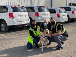 three people squatting down with Canine Companions service dog