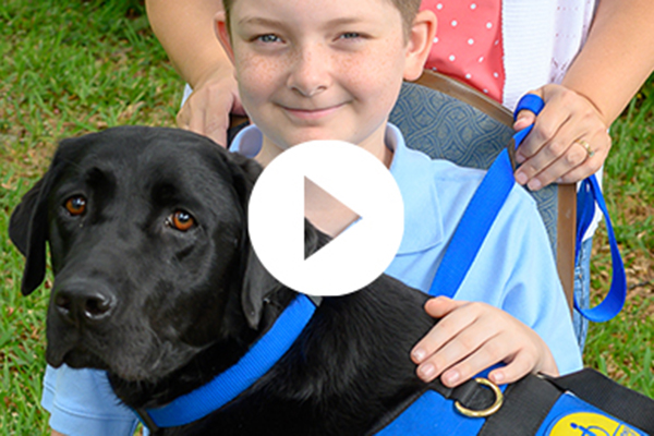 child with Canine Companions service dog on their lap