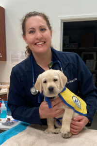 Veterinarian Dr. Sarah Lee with a yellow Canine Companions puppy