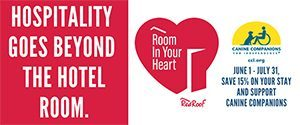 Red roof logo, Canine companions logo room inyour heart campign