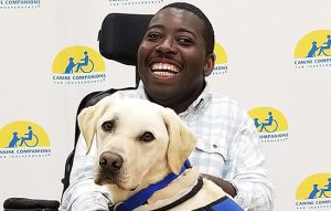 A young Black man using a power wheelchair smiles with a yellow Labrador in a blue vest resting its upper body on the man's legs.