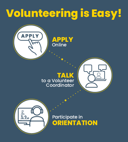easy step infographic to become a volunteer